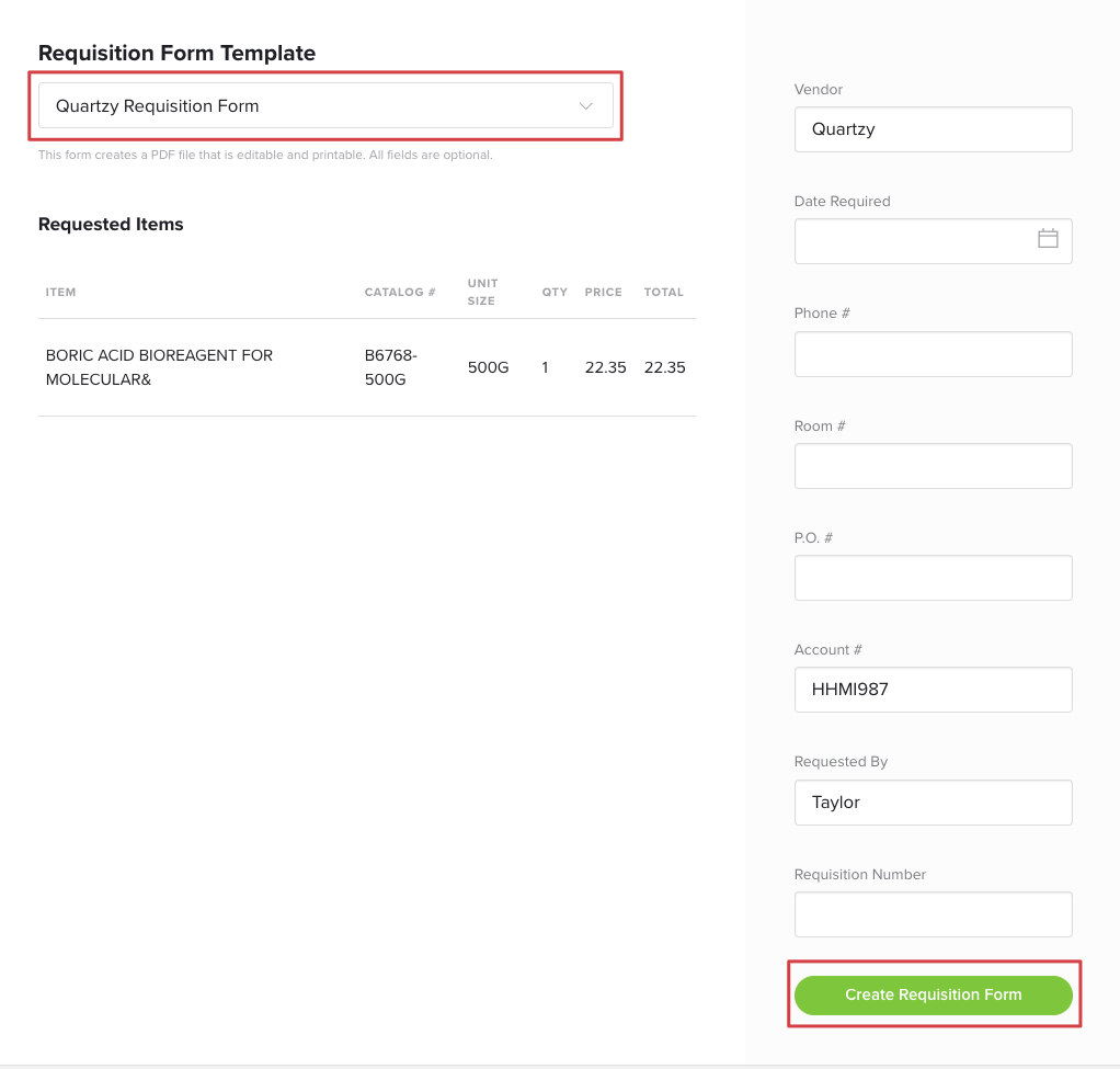 Generate a Requisition Form – Quartzy Support